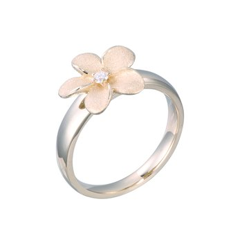 Yellow Gold Plumeria Ring