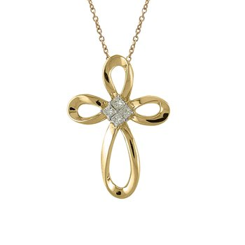 14K Yellow Gold Princess Diamond Cross Pendant