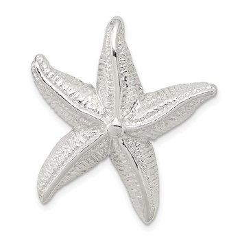 Sterling Silver Polished & Textured Starfish Chain Slide Pendant