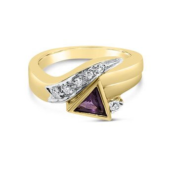 14K Yelow Gold Diamond Amethyst Retro Fashion Band