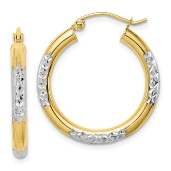 10K & Rhodium Diamond Cut 3mm Hoop Earrings