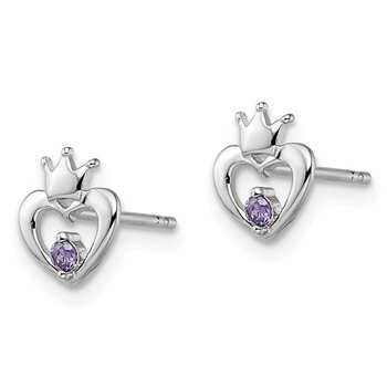 Sterling Silver Madi K RH Plated Purple CZ Crown Post Earrings