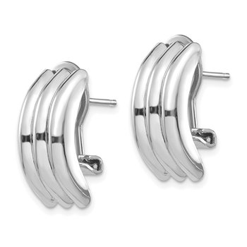 14k White Gold Omega Post Earrings