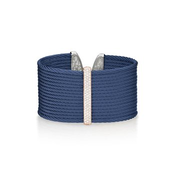 Blueberry Cable Large Monochrome Cuff with 18kt Rose Gold & Diamonds
