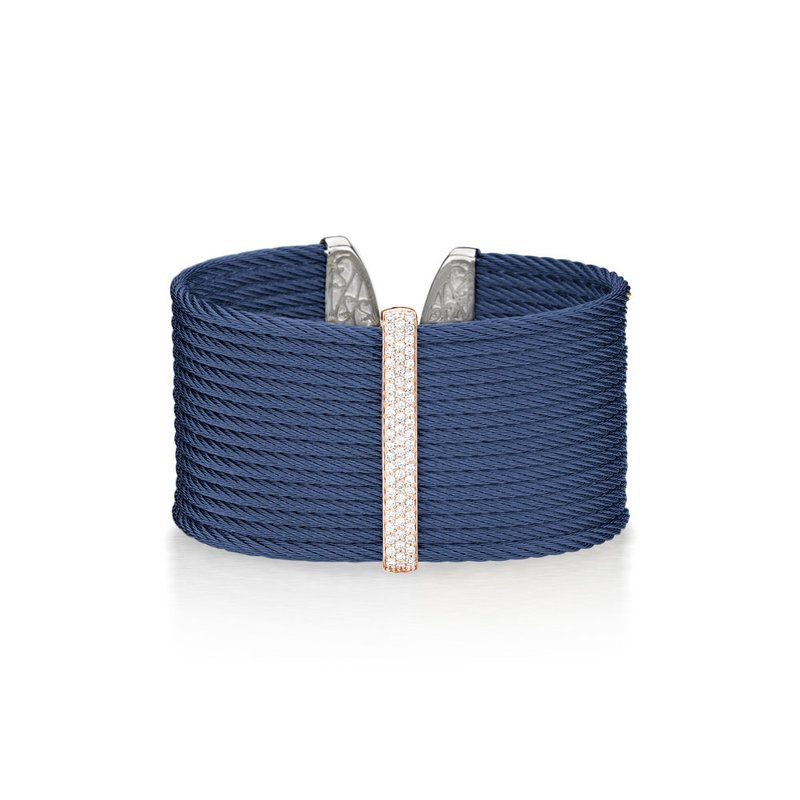 ALOR Blueberry Cable Large Monochrome Cuff with 18kt Rose Gold & Diamonds