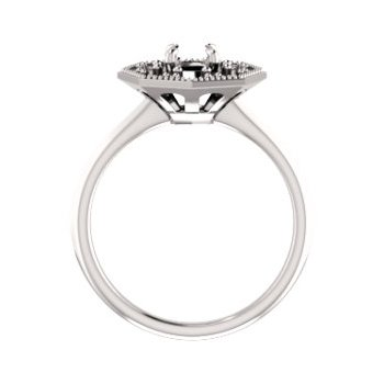 18K White 5.2 mm Round Halo-Style Engagement Ring Mounting