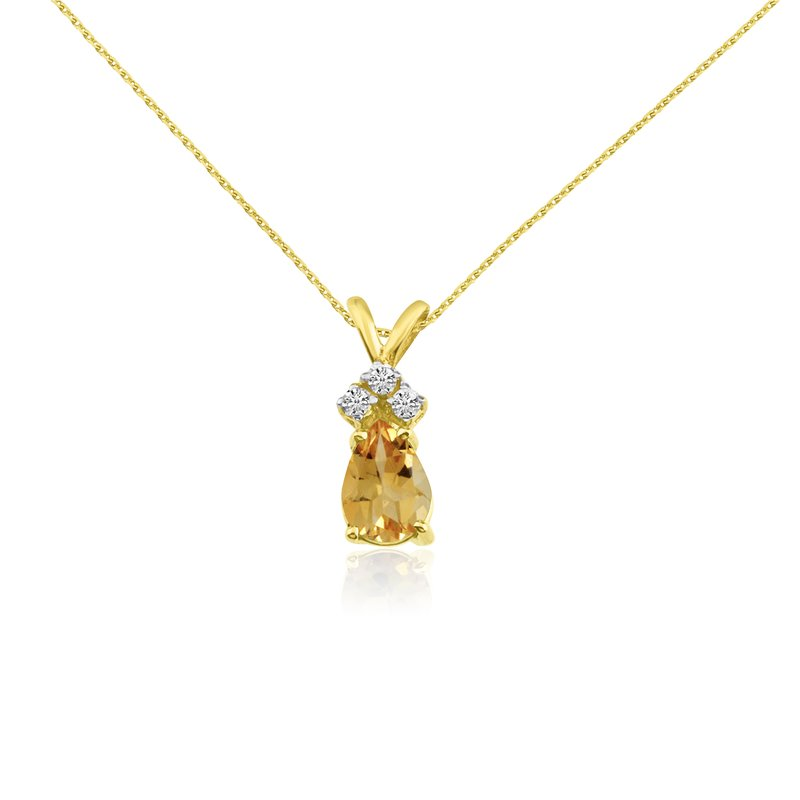 Color Merchants 14k Yellow Gold 7X5 Citrine Pear Pendant with Diamonds