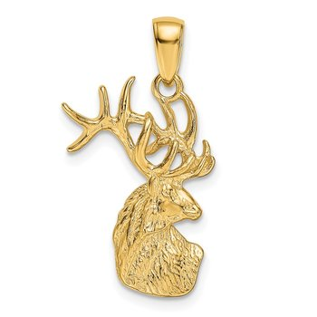 14k Polished Deer Head Charm