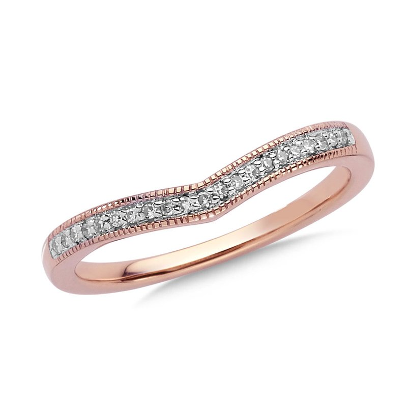 SDC Creations Prong set Diamond Stackable V Ring 10k Rose Gold
