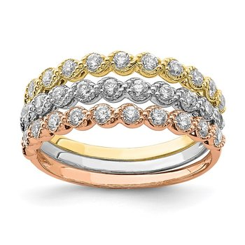 10K Tri-color Set of Three Stackable CZ Rings