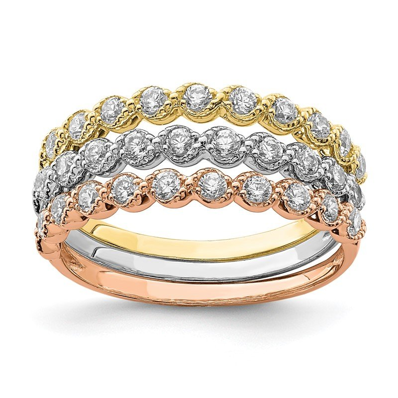 Quality Gold 10K Tri-color Set of Three Stackable CZ Rings
