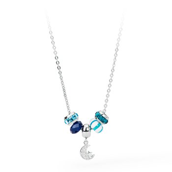 316L stainless steel, blue agathe, coloured glass and coloured Swarovski® Elements crystals.