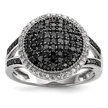 Sterling Silver Rhod Plated Black & White Diamond Round Ring