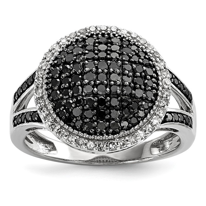 Quality Gold Sterling Silver Rhod Plated Black & White Diamond Round Ring