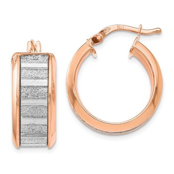 Leslie's Sterling Silver Rose-tone Plated Glimmer Infused Hoop Earrings