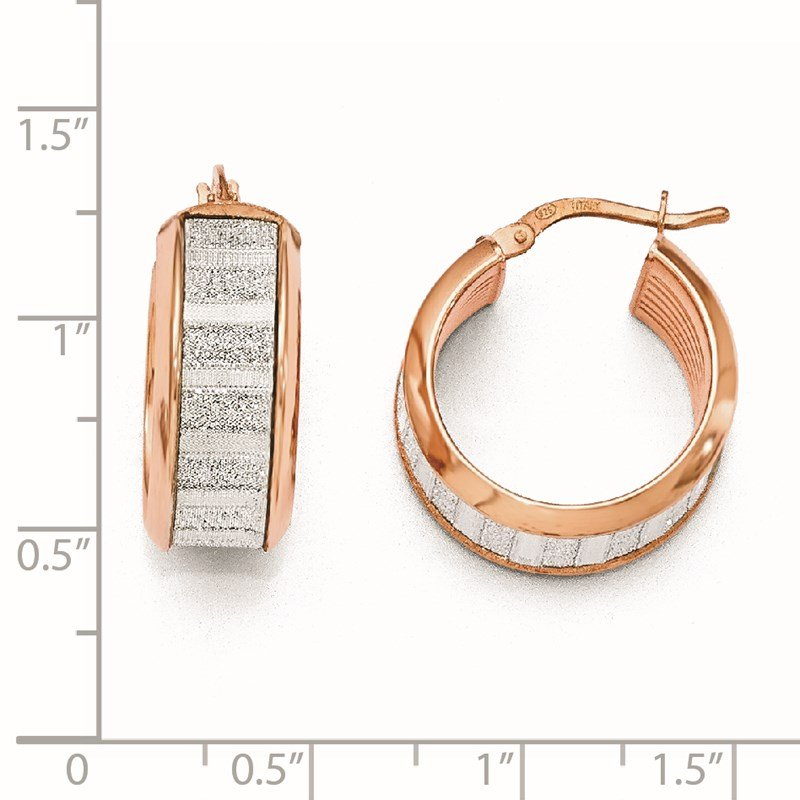 Leslie's Leslie's Sterling Silver Rose-tone Plated Glimmer Infused Hoop Earrings