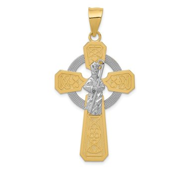 14k Two-tone & Rhodium St. Patrick Celtic Cross Pendant
