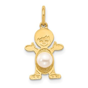 14K Boy 4mm FW Cultured Pearl-June
