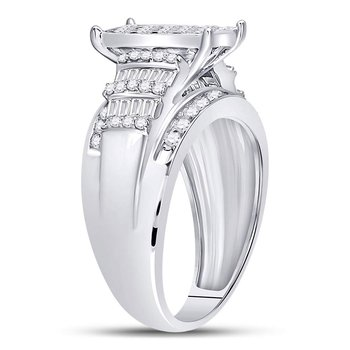 10kt White Gold Womens Princess Diamond Cluster Bridal Wedding Engagement Ring 1-1/2 Cttw