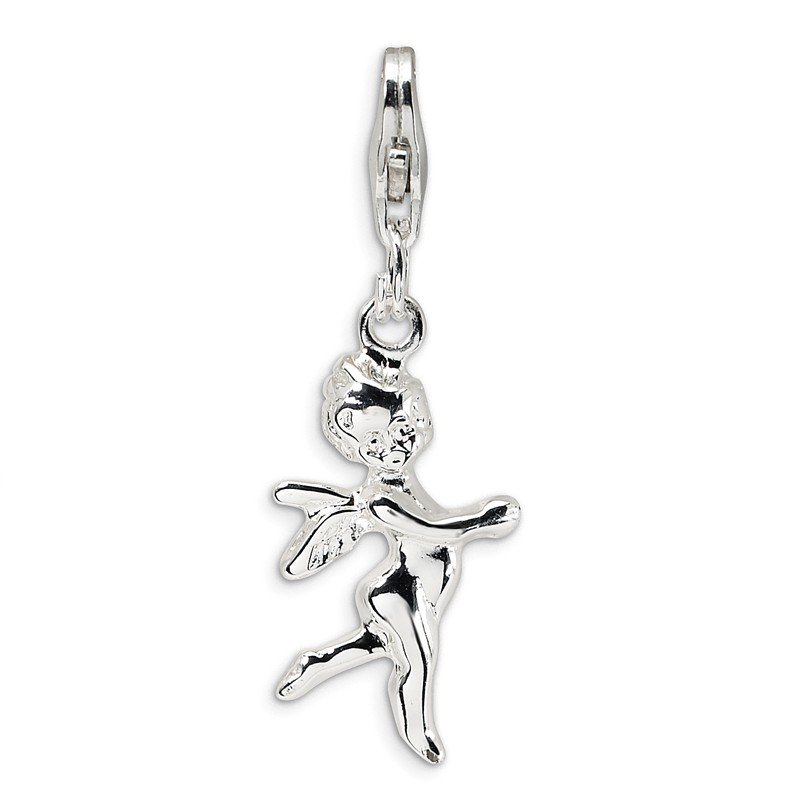 Quality Gold SS RH 3-D Polished Angel w/Lobster Clasp Charm