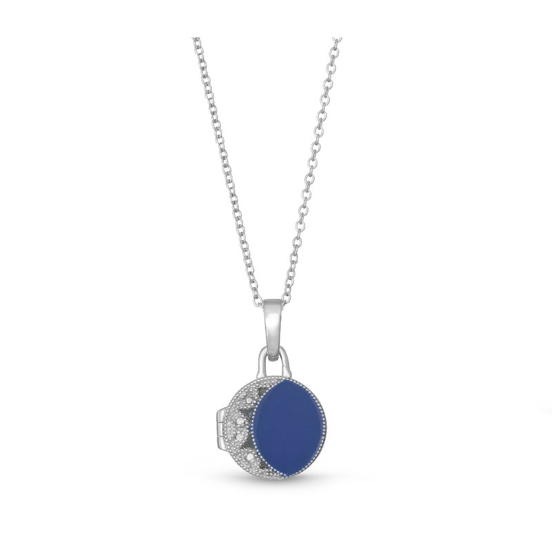 With You Lockets Kiera Locket Necklace Blue