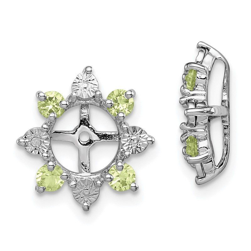 Quality Gold Sterling Silver Rhodium Diam. & Peridot Earring Jacket