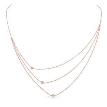 Rose Gold Triple Row Bezel Necklace