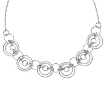 Leslie's Sterling Silver Laser-cut Link Necklace w/2in ext