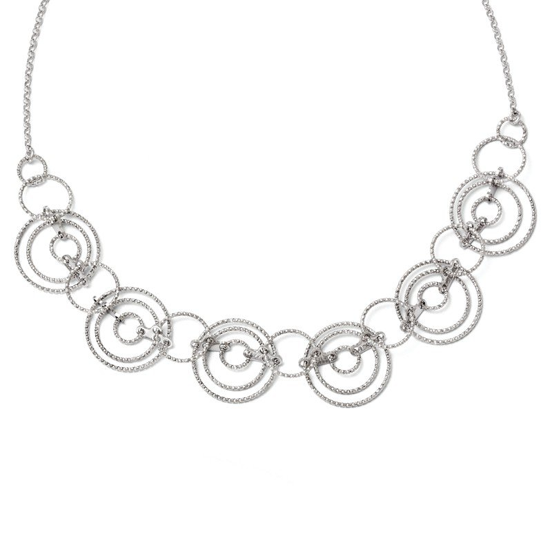 Leslie's Sterling Silver Laser-cut Link w/2in ext. Necklace