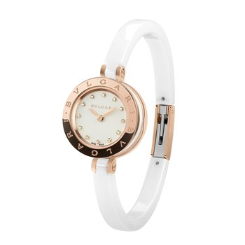 B.zero1 watch, 23mm rose gold case and white ceramic. White dial with diamonds indexes. White ceramic bangle S size
