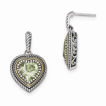 Sterling Silver w/14k Green Quartz Heart Dangle Post Earrings