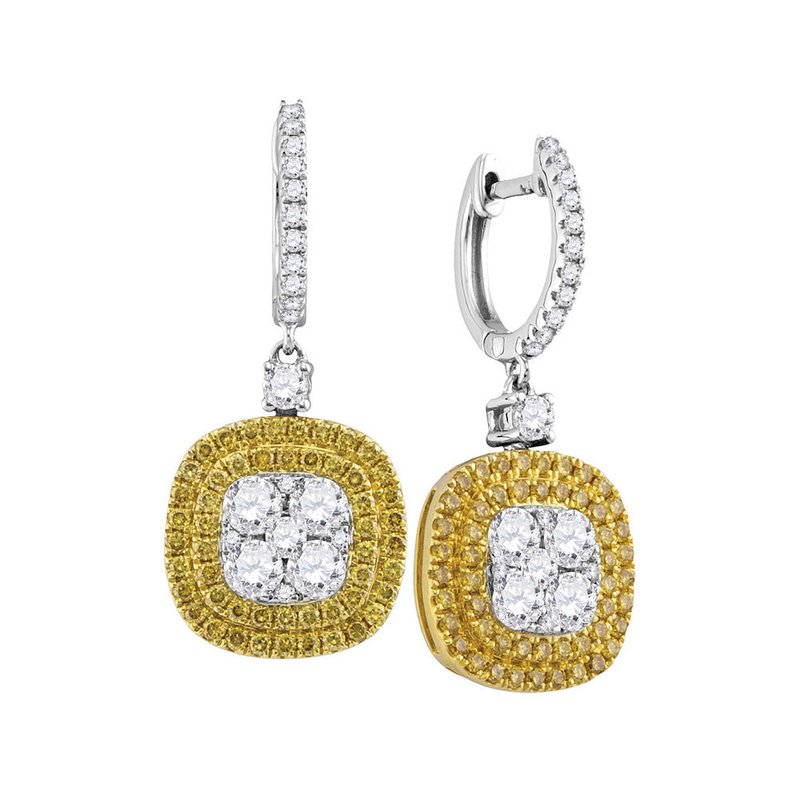 Gold-N-Diamonds, Inc. (Atlanta) 18kt White Gold Womens Round Yellow Diamond Square Cluster Dangle Earrings 2-1/5 Cttw