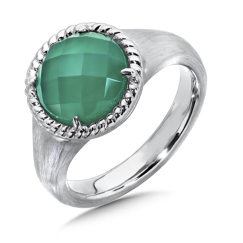 Colore Sg Sterling Silver White Quartz & Dyed Green Agate Ring
