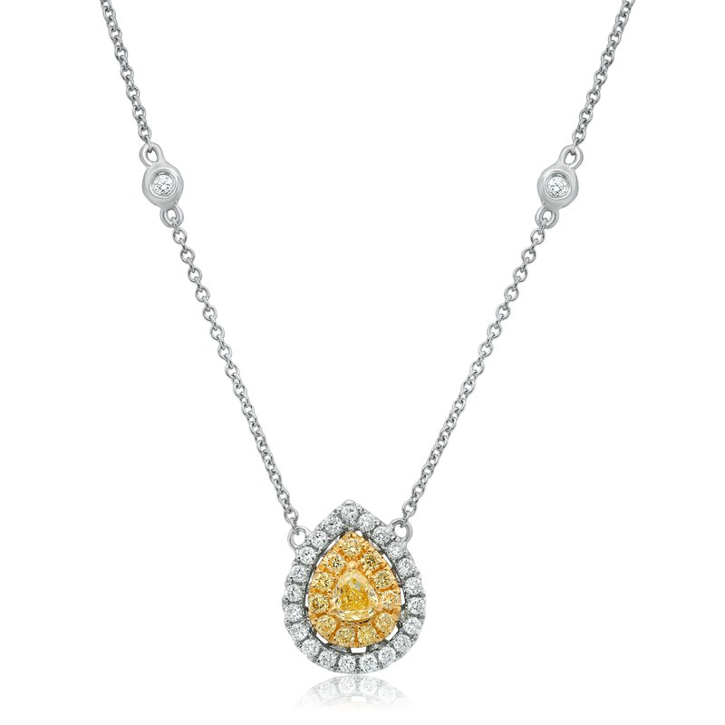 Roman & Jules Pear-shaped White & Yellow Diamond Necklace