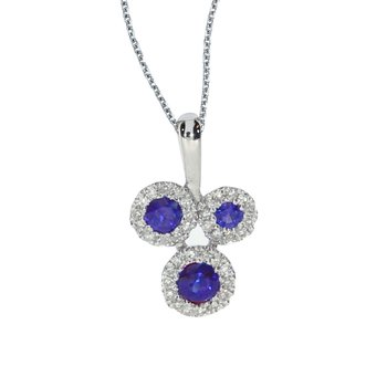 14k White Gold Triple Sapphire and .07 ct Diamond Pendant
