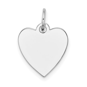 14k White Gold Plain .027 Gauge Engravable Heart Charm