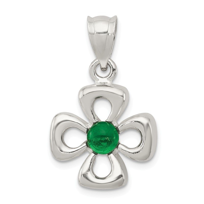 Quality Gold Sterling Silver Four Leaf Clover with Green Synthetic Stone Charm