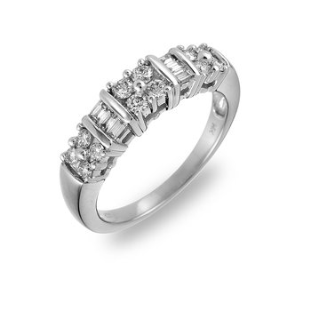 14K WG Diamond Rd and Baguette Wedding Band