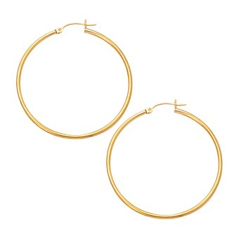 10K Gold 2x45mm Hoop Earring