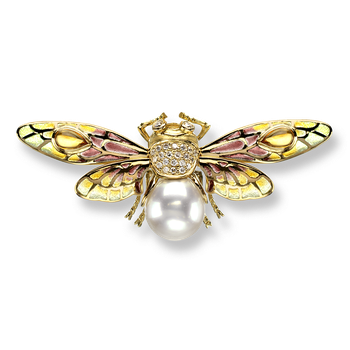 18 Karat Gold Bee Necklace-Gold.  Diamonds, South Sea Pearl and Citrine.