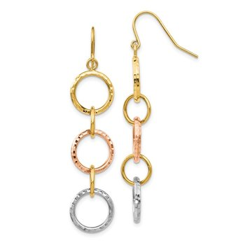 14k Tri-Color Diamond Cut Circle Dangle Earrings
