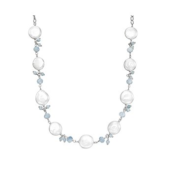"Honora Sterling Silver 12-14mm White Coin Freshwater Cultured Pearls With Aquamarine Cluster 18"" Necklace"