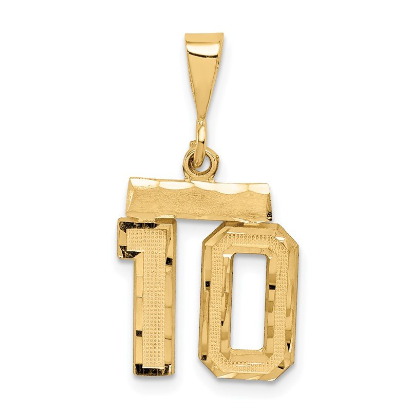 Quality Gold 14k Small Diamond-cut Number 10 Charm