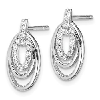Sterling Silver Rhodium-plated CZ 3-Oval Post Earrings
