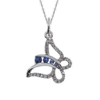 14k White Gold Sapphire Butterfly and Diamond Pendant