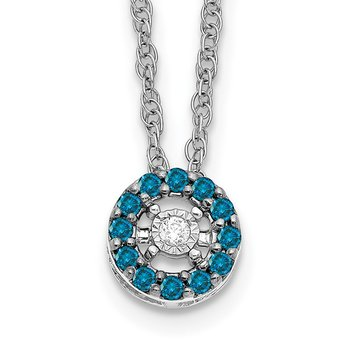 14k White Gold Blue and White Diamond Halo 18 in. Necklace