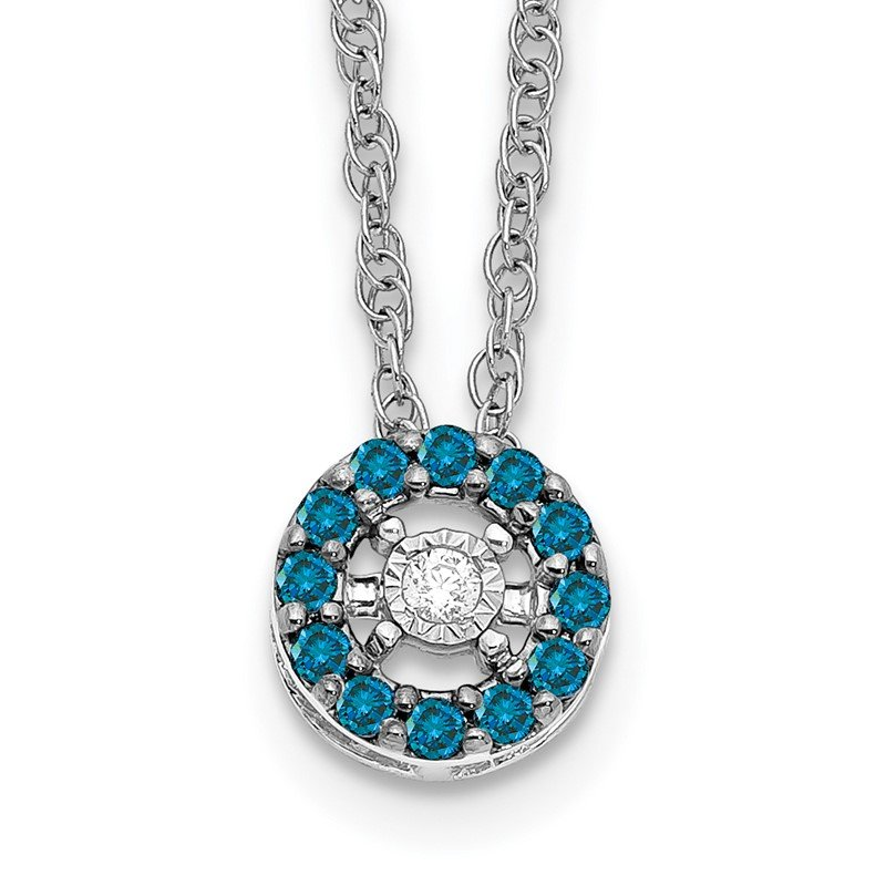 Quality Gold 14k White Gold Blue and White Diamond Halo 18 in. Necklace