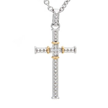 18kt and Sterling Silver Diamond Cross Pendant with Chain