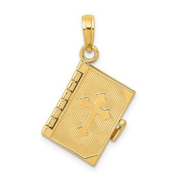 14K 3D Lords Prayer Bible Pendant