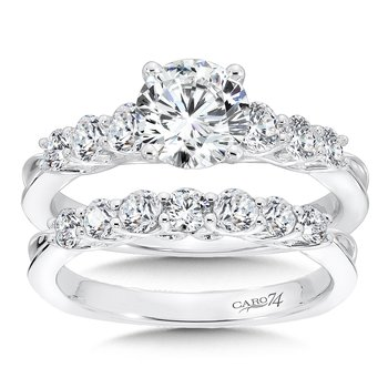 Engagement Ring With Side Stones in 14K White Gold with Platinum Head (1ct. tw.)